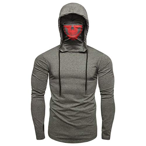 KNDDY Pullover Tops for Men - Hipster Hip Hop Hoodie Side Zipper T Shirts Gray ()