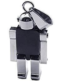 """Robot Pendant Men's Stainless Steel Robot Necklace Jewelry 23"""" Chain"""