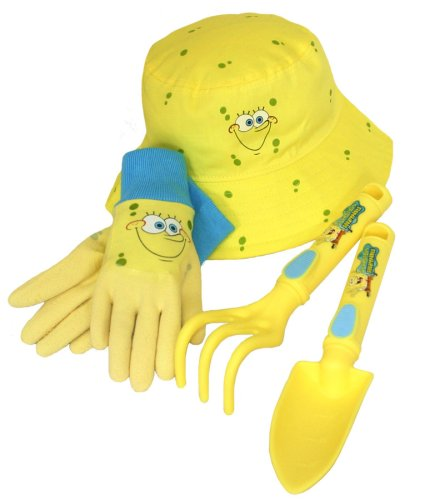 (Nickelodeon SpongeBob Kids 4 Piece Kids Garden Glove and Accessory Combo Pack, SS4P05, Size: Kids)