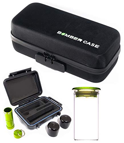 BOMBER CASE - Pax 2 & 3 Deluxe 6 Piece Kit with Large Locking Odor Proof Storage Case & Mini Smell Proof Carry Case, Glass Herb Jar, Bumper End Caps, Aluminum Material Bottle, Lockable Zipper - Black ()