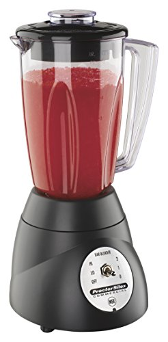 Proctor Silex Commercial 51000 Bar Blender, 2 Speeds, Stainless Steel Blades, 1/3 hp Motor, 48 oz. Plastic Jar, Black