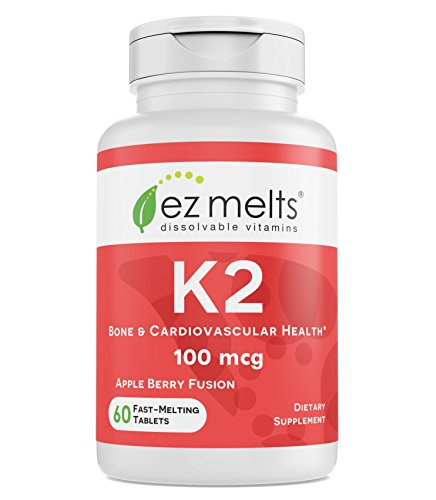 EZ Melts K2 as Menaquinone MK-7, 100 mcg, Sublingual Vitamins, Vegan, Zero Sugar, Natural Apple Flavor, 60 Fast Dissolve Tablets