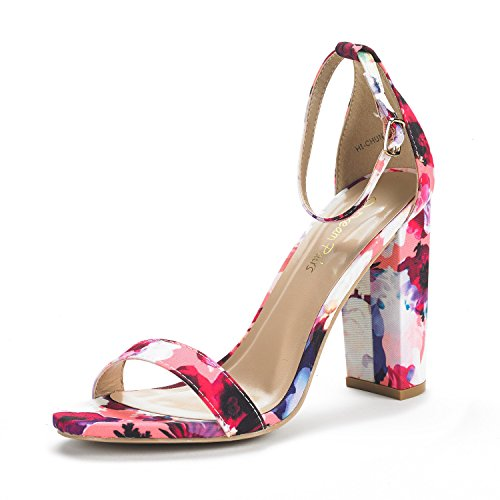 DREAM PAIRS Women's Hi-Chunk Floral High Heel Pump Sandals - 5 M (Floral High Heel Pump)