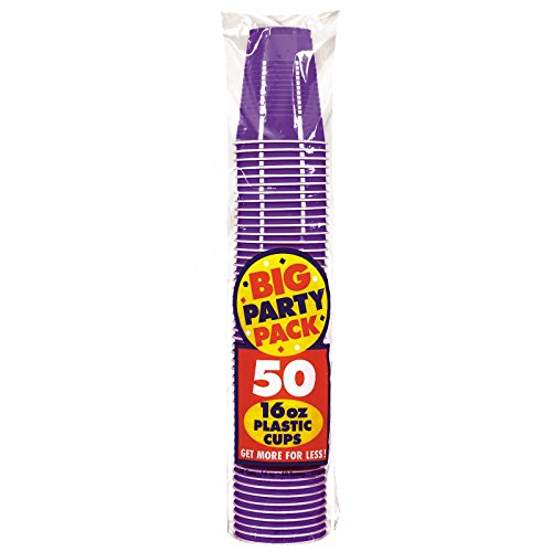 Amscan Big Party Pack 50 Count Plastic Cups, 16-Ounce, New Purple (Pack Party Purple)
