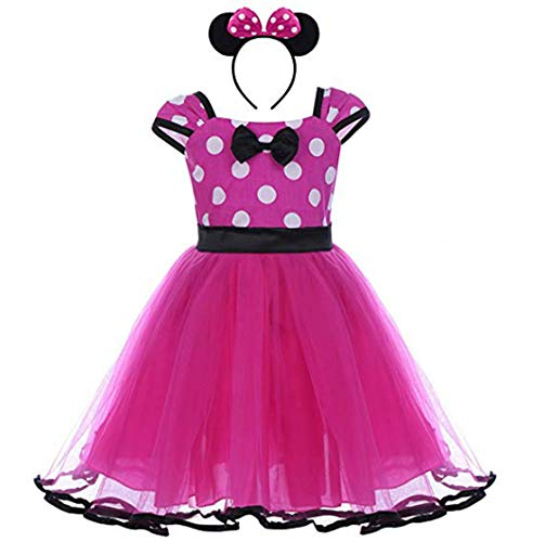 YiZYiF Baby Girls' Polka Dots Christmas Birthday Costume Cosplay Tutu Dress Up (4T, 2pcs Hot Pink with Ears)