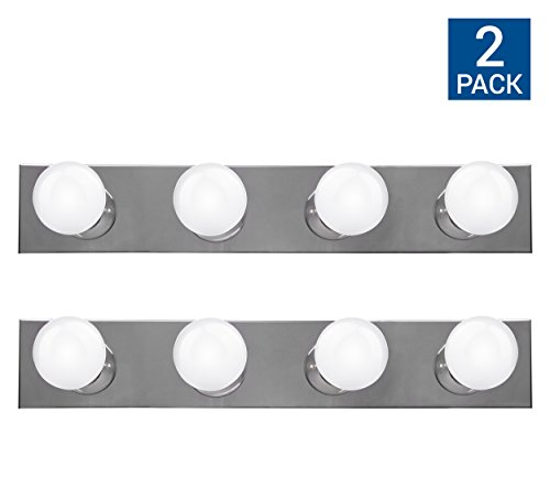 Chrome Plug - Hyperikon Vanity Light Bar Strip Fixture, 24 Inch with 4 Sockets (E26 Medium Base), Polished Chrome Finish, Plug and Switch Rotary Cord - Bulbs Not Included (2 Pack)