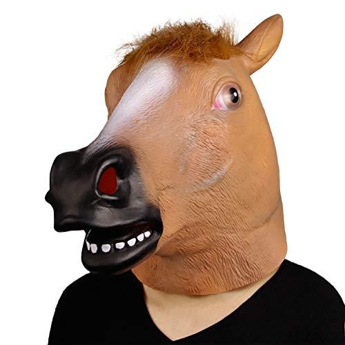 (Novelty Halloween Costume Party Animal Head Mask Brown Horse Helmet Latex Funny Animal Head)