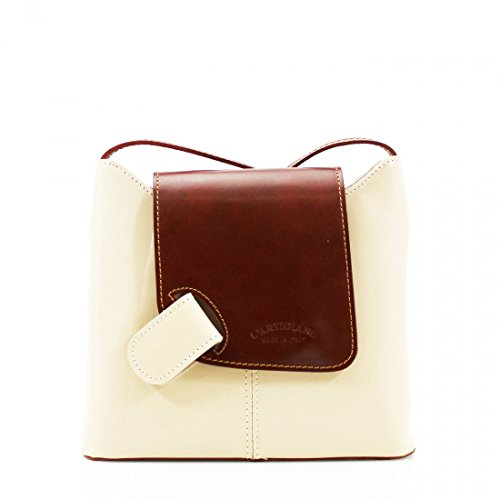 Bag Vera Brown or Small Italian Genuine Cross Handbag Pocket Tan Shoulder Multi Body Beige Pelle Bag Leather Mini qFxSP