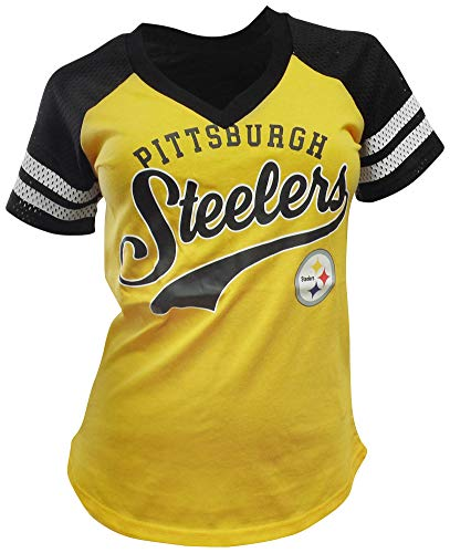 G-III Sports Pittsburgh Steelers Women's Mesh Raglan Hat Trick V-Neck T-Shirt Medium