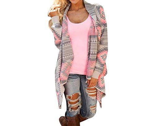 WOCACHI Damen Geometrische Printed Langarm Baumwolle Kimono Cardigan Coat Tops Cover up (L, Rosa)
