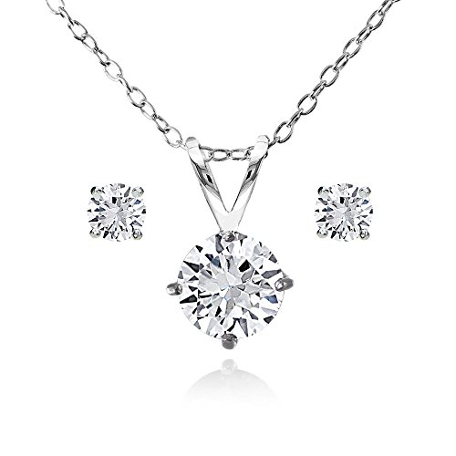 Solitaire Round Sapphire (Sterling Silver Created White Sapphire Round Solitaire Necklace and Stud Earrings Set)