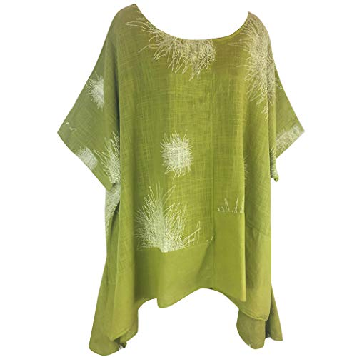 Willow S Plus Size Women Short Sleeve Round Neck Dandelion Printing Cotton and Linen Loose T-Shirts Tops Blouses Green