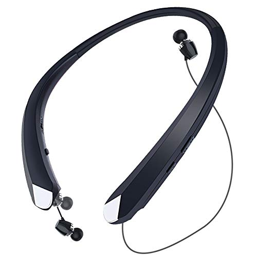 HaoHiyo Bluetooth Headphones Retractable Earbuds Wireless Headset Neckband Sports Noise