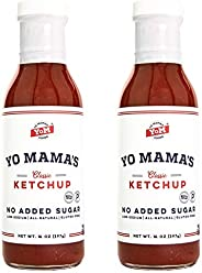 Keto Classic Ketchup by Yo Mama's Foods – Pack of (2) - No Sugar Added, Low Carb, Vegan, Gluten Free, Pale