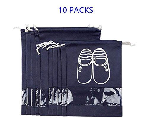 10 Pcs Each Bag - Travel Shoe Bag Waterproof Shoe Organizer Bag with Clear Window-10 PCS