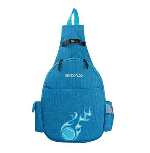 Klau Nylon Tennis Racquet Backpack Tennis Racket Shoulder bag Outdoor Sports Bag Blue for Children Teenagers Tennis Beginners