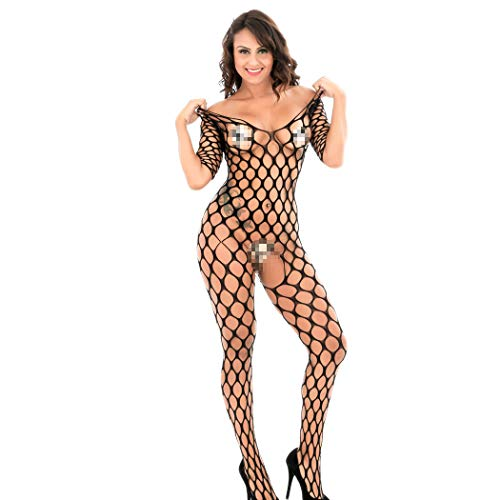 Aeakey Women's Fishnet Bodystockings Striped Bodysuit Plus Size Lingerie Stretch Clothes Underwear (black14)
