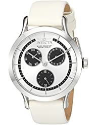 Invicta Womens Angel Quartz Stainless Steel and Leather Casual Watch, Color:White (Model: 22493)