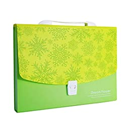 Green Expanding File Folder with 12 Pockets, Buckle Closure, [Snowflake]