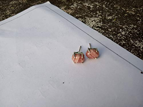 Pink Rhodochrosite Stud, 925 Sterling Silver Stud, Bridesmaids Gift, Handmade Jewelry, Gift For Women, Friendship Gift, Promise Earrings, Boho Earrings, Prong Stud, Hippie Stud, Southwestern Earring