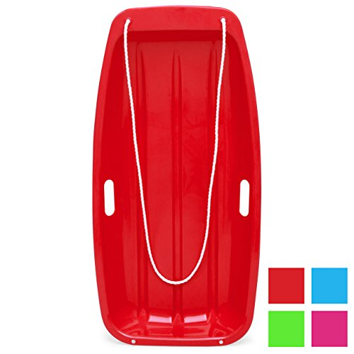 Best Choice Products 35in Kids Outdoor Plastic Sport Toboggan Winter Snow Slider Utility Sled Board Toy w/Pull Rope, 2 Handles - Red