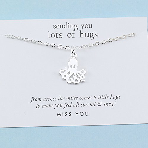 Best Friend Gift • Long Distance Friendship • Tiny Octopus Charm Necklace • Sterling Silver • BFF Besties