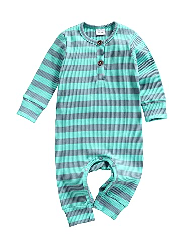 9-12 month girl clothes baby boy outfits winter fall ribbed onesies one piece rompers green grey stripe