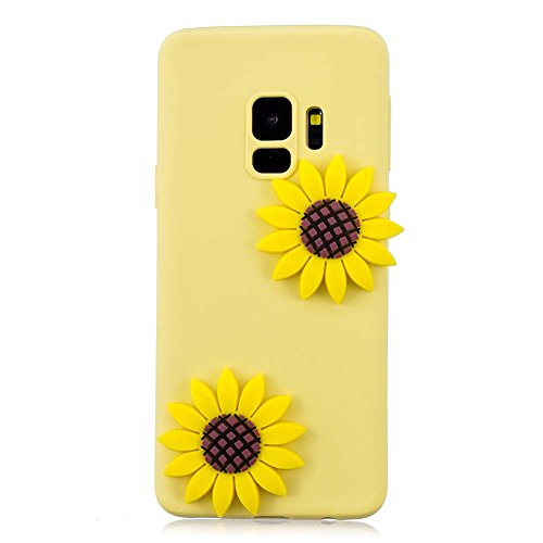 S9 Slim Case, Galaxy S9 Back Cover, Samsung S9 Phone Case Aeeque Ultra Thin 3D Cartoon Soft Silicone TPU Shockproof Bumper Shell Skin Protective Case Cover for Samsung Galaxy S9 2018, Yellow Sunflower