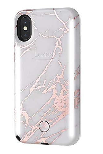LuMee Duo Phone Case, Metallic Rose White | Front & Back LED Lighting, Variable Dimmer | Shock Absorption, Bumper Case, Selfie Phone Case | iPhone Xs Max Only