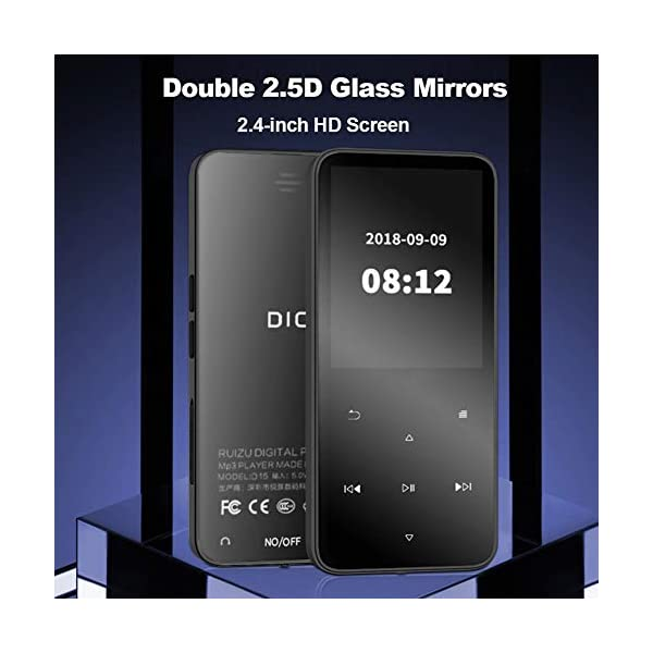 Bluetooth Mp3 Player 2.4 Inch Ultra-Thin Touch Screen Mp4 Lossless Music Dual 2.5D Glass Mirror Noise Reduction Recorder Pedometer 8G, Black,Black 4