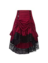 Women Vintage Steampunk Victorian Gothic Lace Party Skirt High Low Skirts