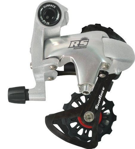 SunRace RDRS1 10/9-Speed Short Cage Bike Derailleur with Bolt, Silver/Black ()