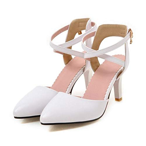 ANZLOU& Size 33-43 Ladies High Heel Sandals Women Ankle Strap Pointed Toe Thin Heels Female Elegant Wedding Office Shoes White 9 (In Vt Stores Burlington)