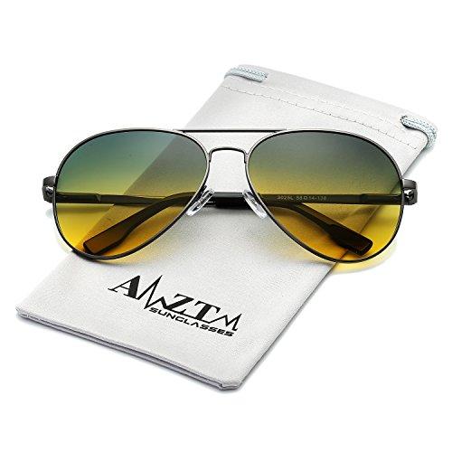 AMZTM Day/Night Anti Glare Driving Glasses Double Bridge Metal Frame Polarized Gradient Lens Aviator Women and Men Sunglasses (Day/Night Lens, - Sunglasses Trend Yellow Lens