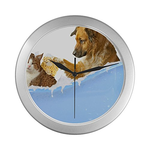 Dog and Kitty Bath Decorative Living Room Wall Clock - Unique Silver from Lovers/Wife/Husband