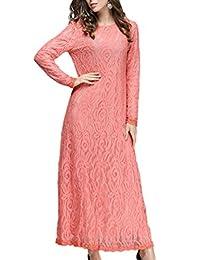 YACUN Women's Lace Long Sleeve Maxi Muslim Dress Work Party Gown
