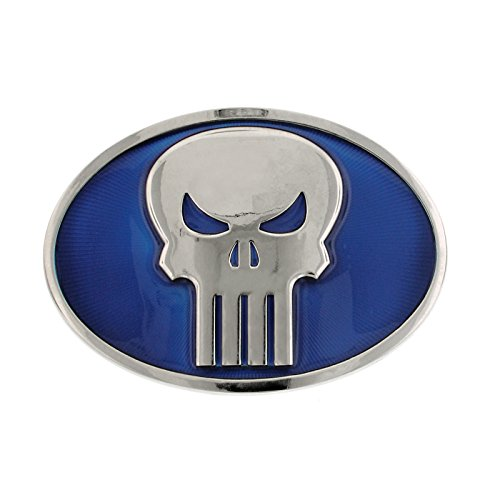 Punisher Silver-Tone / Blue Oval Belt Buckle Officially Licensed by MARVEL + Comic Con Exclusive ()