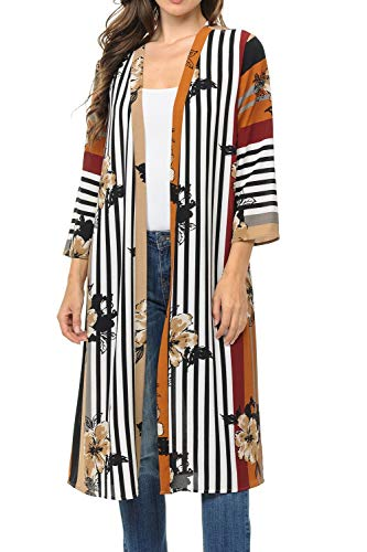 (Auliné Collection Womens USA Made Casual Cover Up Cape Gown Robe Cardigan Kimono LFB1 Colorblock FL Taupe S)
