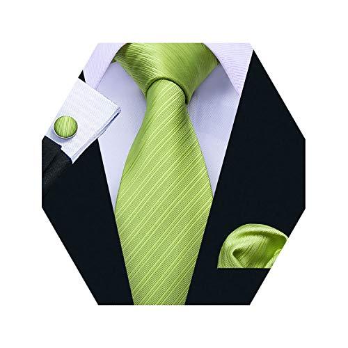Barry.Wang Silk Tie Green Plain Tie Pocket Square Cufflinks Set Business -