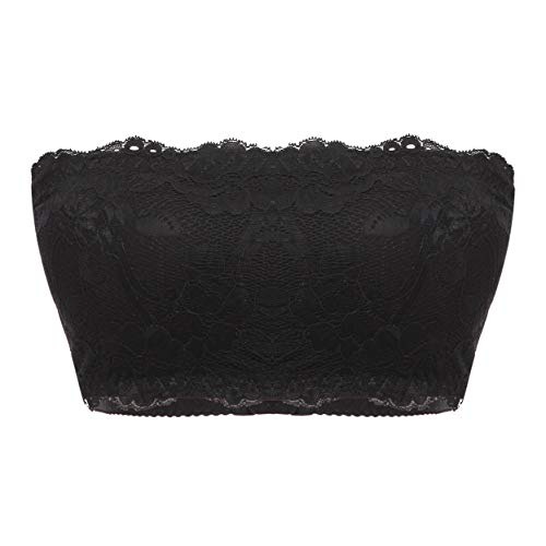 Bandeau Bra for Women Lace Bralette Tube Top Strapless Wireless Removable Padded Basic Layer Spandex Nylon (Black, X-Large)