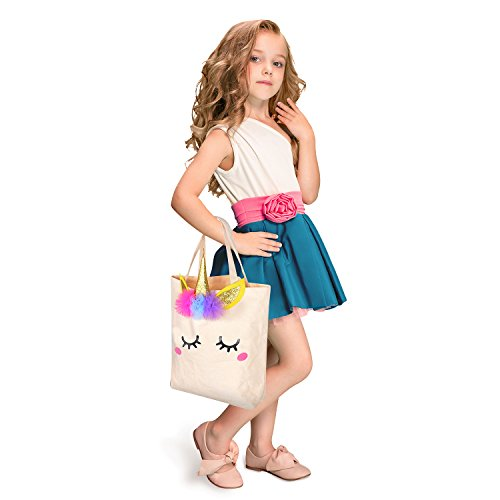 Unicorn Canvas Tote Bag Girls School Bag Shopping Tote Bag Gift for Woman Grocery Kids ()