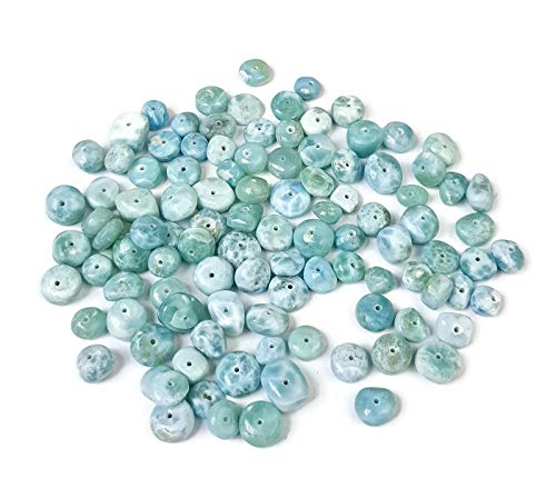 Lot 100 Grams Beautiful Dominican Blue Larimar Nuggets Freeform Beads ()