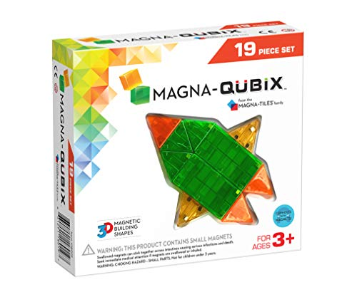 - Magna-Qubix 19Piece Clear Colors Set - The Original, Award-Winning Magnetic 3D Building Shapes - Creativity & Educational - STEM Approved
