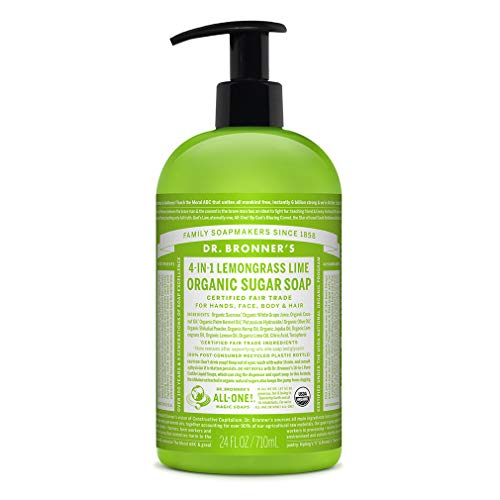 Dr. Bronner s – Organic Sugar Soap Lemongrass, 24 Ounce – Made with Organic Oils, Sugar and Shikakai Powder, 4-in-1 Uses Hands, Body, Face and Hair, Cleanses, Moisturizes and Nourishes, Vegan