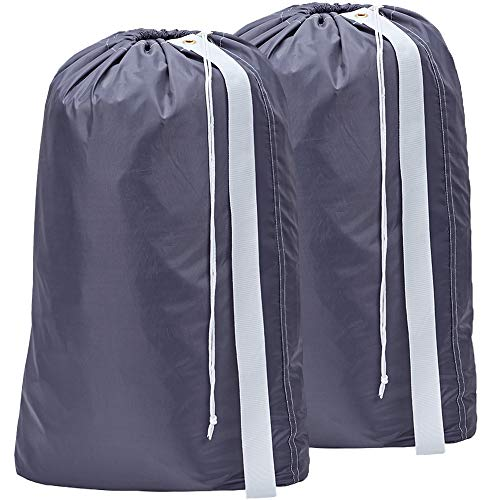 HOMEST 2 Pack Nylon Laundry Bag with Strap, 28 x 40 Inches Rip-Stop Travel Dirty Clothes Shoulder Bag with Drawstring, Large Hamper Liner, Machine Washable, Grey