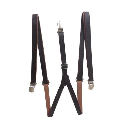 hot JTC Child Kid Adjustable Faux Leather Suspenders Solid Color Y Back Brown for cheap