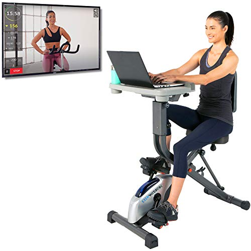 Fodable Exercise Bike Desk W// Smart Band 220LBS Portable Durable ABS Fitness