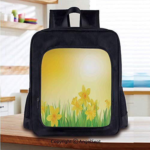 14 Inch Backpack,Daffodil Flowers On Spring Meadow Countryside Nature Sun Illustration Perfect for Primary, Preschool, Daycare, and Day Trips,Yellow Green
