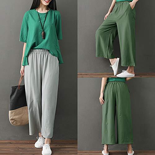Romacci Woman Casual Loose Wide Leg Pants Elastic Waist Pockets Striped Print Trousers by Romacci (Image #5)