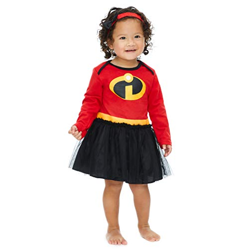 Disney Pixar The Incredibles Baby Girls' Costume Bodysuit Dress with Headband, Red 18 Months